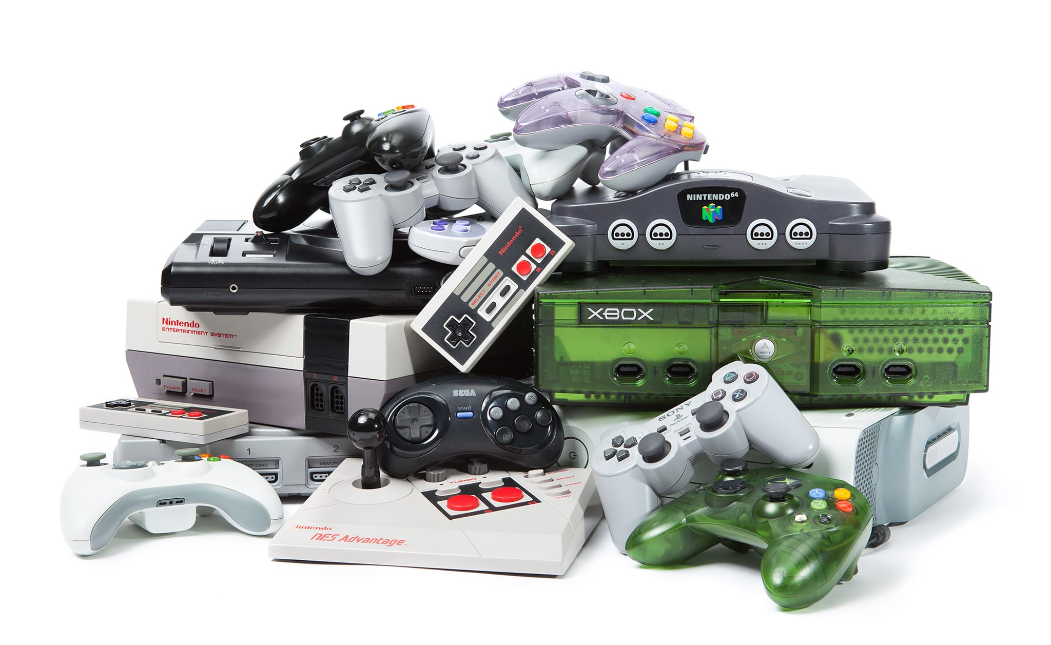 Taipei, Taiwan - November 13, 2012: This is a studio shot of various game systems and controllers isolated on a white background.